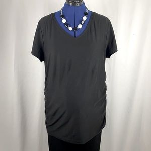 Time and Tru Black Maternity T-Shirt, Rushed Sides